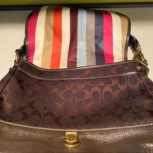 COACH Hobo Bag Brown Leather Striped Lining